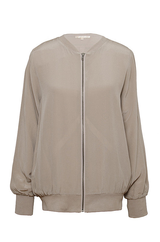 The Silk Bomber Jacket in taupe.