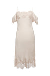The Gigi Lace Silk Dress in pale mauve.