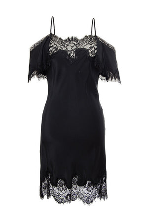 The Gigi Lace Silk Dress in black.
