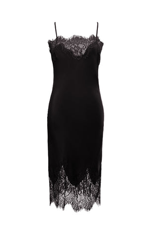 The Coco Lace Silk Dress in black.