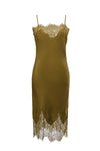 The Coco Lace Silk Dress in olive.