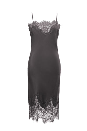 The Coco Lace Silk Dress in pewter.