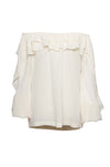 The Double Ruffle Silk Top in off white.