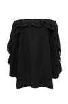 The Double Ruffle Silk Top in black.
