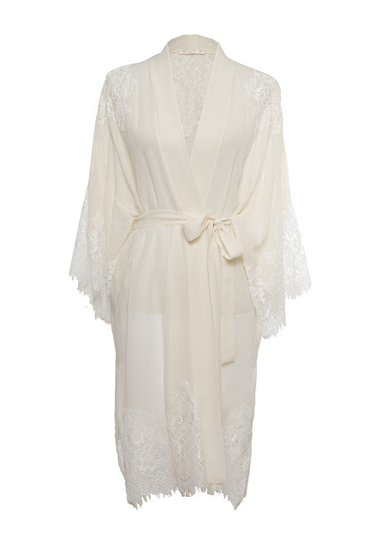 The Coco Lace Silk Kimono in off white.