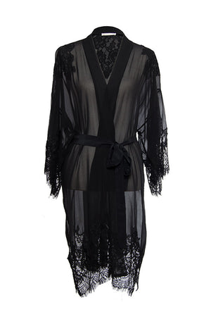 The Coco Lace Silk Kimono in black.