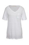 The V-Neck Linen Pocket Tee in white.