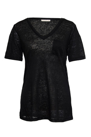 The V-Neck Linen Pocket Tee in black.