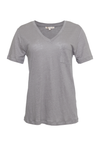 The V-Neck Linen Pocket Tee in steeple grey.