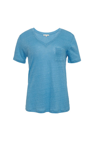 The V-Neck Linen Pocket Tee in baby blue.