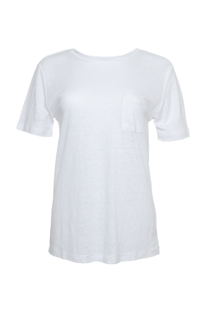 The Crew Neck Linen Tee in white.