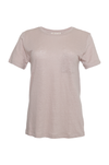 The Crew Neck Linen Tee in sand shell.