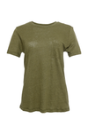 The Crew Neck Linen Tee in olive.
