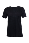 The Crew Neck Linen Tee in black.