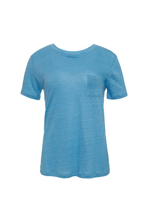 The Crew Neck Linen Tee in baby blue.
