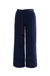 The Wide Leg Silk Pants in navy with red piping.