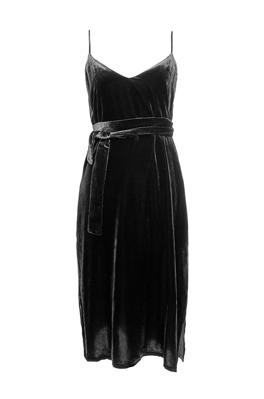 The Susan Velvet Self-Tie Dress in black.