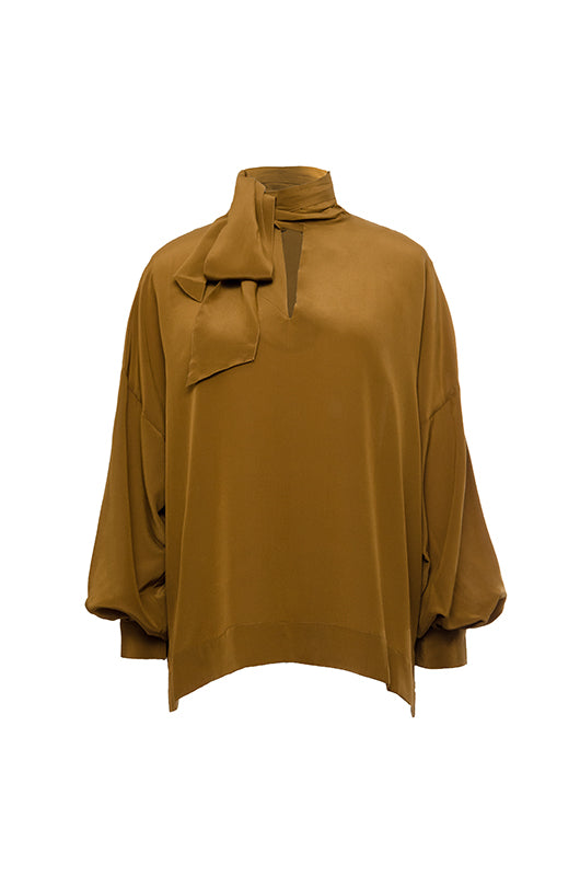The Oversized Silk Self-Tie Top in tobacco.