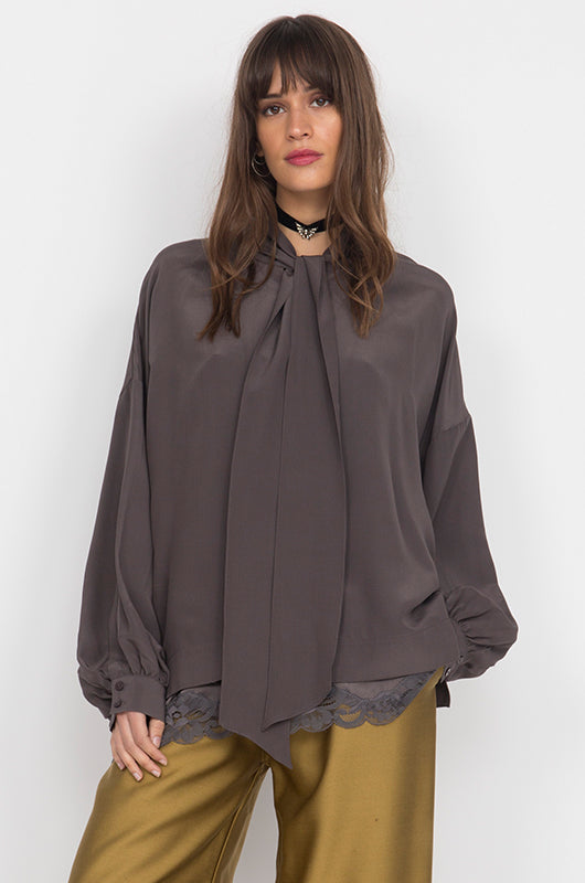 Oversized Silk Self-Tie Top