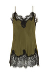 The Coco Lace Silk Cami in dark olive with black lace.