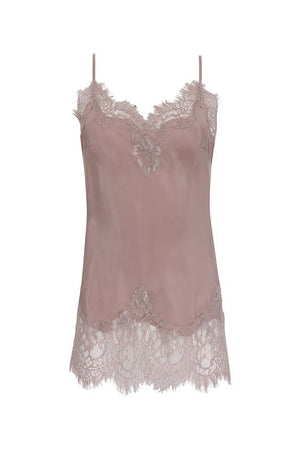 The Coco Lace Silk Cami in muted rose.