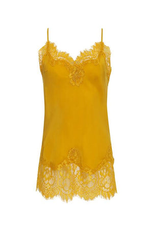 The Coco Lace Silk Cami in gold.