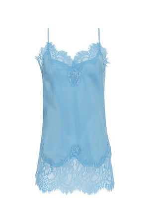 The Coco Lace Silk Cami in baby blue.