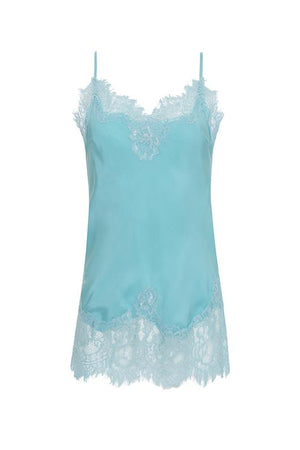 The Coco Lace Silk Cami in aqua powder.