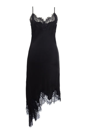 The Emma Lace Silk Slip Dress in black with black lace.