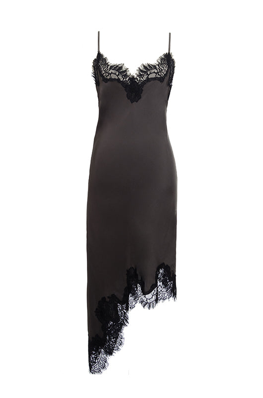 The Emma Lace Silk Slip Dress in pewter with black lace.