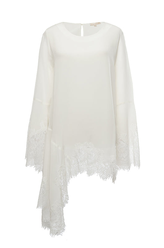 The Emma Lace Silk Long Sleeve Top in egg white.