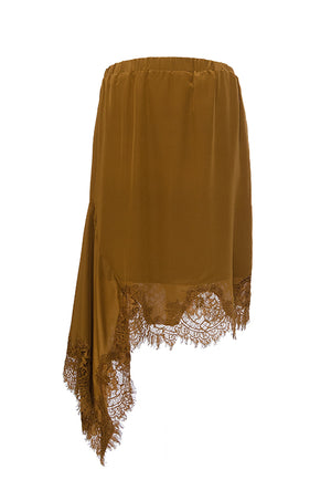The Emma Lace Silk Skirt in tobacco.