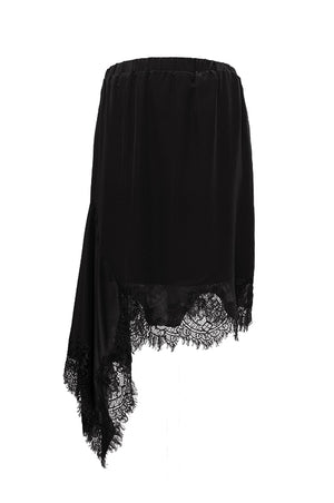The Emma Lace Silk Skirt in black.