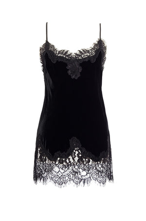 The Anastasia Lace Trim Velvet Cami in black.