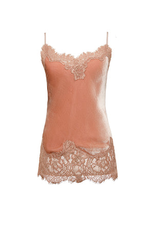 The Anastasia Lace Trim Velvet Cami in dusty rose.