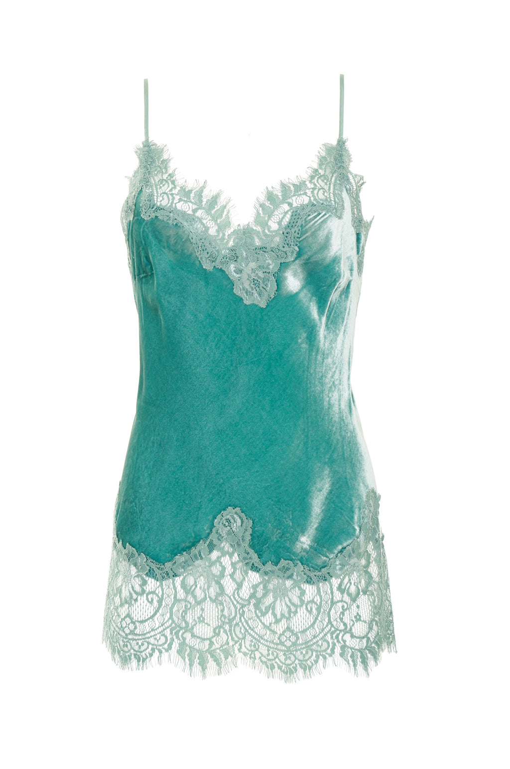 The Anastasia Lace Trim Velvet Cami in oil blue.