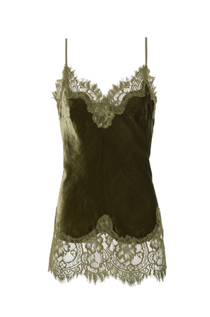 The Anastasia Lace Trim Velvet Cami in olive.