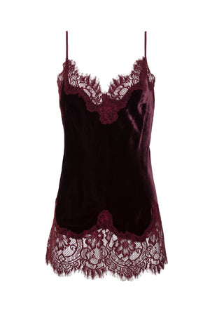 The Anastasia Lace Trim Velvet Cami in burgundy.