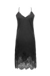 The Anastasia Lace Velvet Slip Dress in pewter.