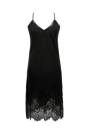 The Anastasia Lace Velvet Slip Dress in black.