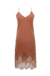 The Anastasia Lace Velvet Slip Dress in dusty rose.