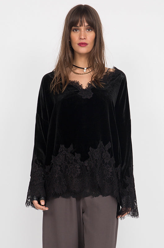 Anastasia Lace Velvet Wedge Top