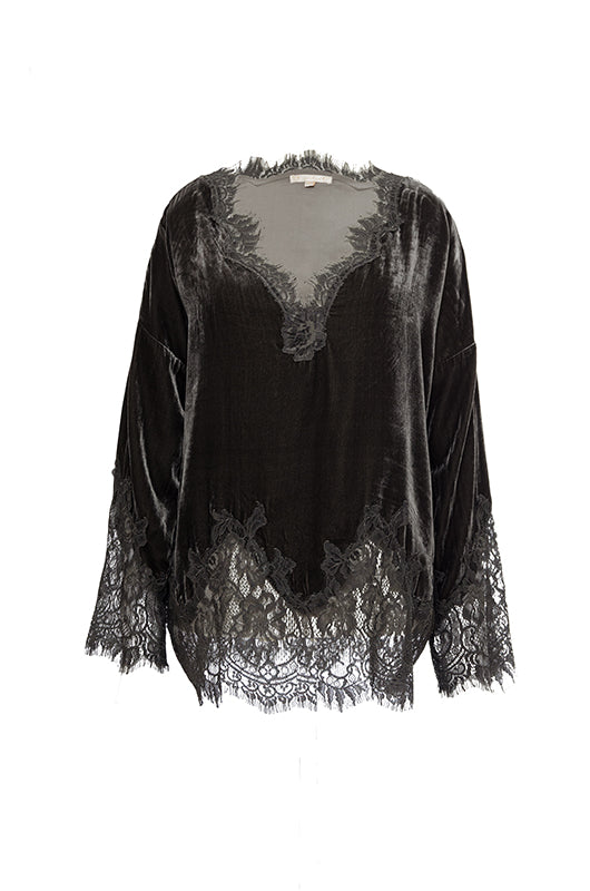 The Anastasia Lace Velvet Wedge Top in pewter.