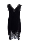 The Anastasia Lace Velvet Dress in black.