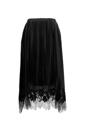 The Julia Silk Lace Skirt in black.