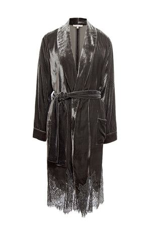 The Anastasia Lace Velvet Robe in pewter.