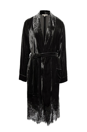 The Anastasia Lace Velvet Robe in black.
