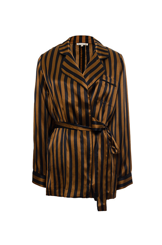 The Stripe Silk Pajama Shirt in balck and tobacco stripes. Shown belted with the matching sash.