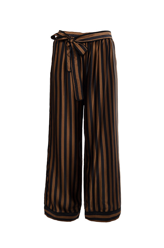 The Stripe Silk Wide Leg Pants in black and tobacco stripe.