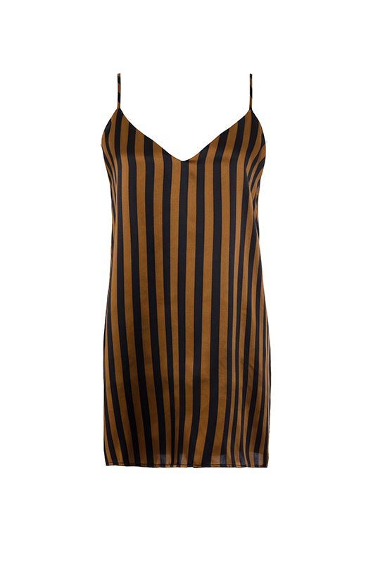 The Stripe Silk Cami in black and tobacco stripes.